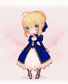 #Ahoge, #BlondeHair, #Chibi, #Dress, #Fateseries, #FatestayNight, #GreenEyes, #HairBun, #HairRibbon, #Medemoisellecu, #Ribbon, #Saber, #Solo