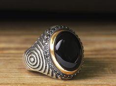 925 K Sterling Silver Man Ring Black Onyx 9,75 US Size $45.04