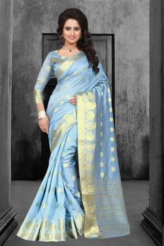 Sky Blue Tussar Silk Saree With Blouse 67597