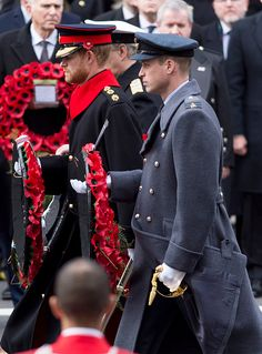 (R-L) Prince William, Prince Harry and Prince Andrew also laid floral tributes during the Sunday service on November 12, 2017 in London, E...