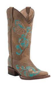 Corral Circle G Women's Tan with Turquoise Dragonfly Embroidery Square Toe Western Boots   Cavender's