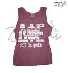 Only two sizes left of the DPhiE Designs Comfort Colors Purple Aztec Tank!!