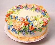 beautiful cake with butter cream flowers