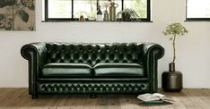 Glenwood antique green Chesterfield Bank, Accent Chairs, Couch, Antiques, Green, Furniture, Home Decor, Upholstered Chairs, Antiquities