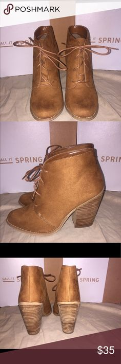 Call it spring. Caramel suede booties. Practically new only worn once. Still in box. Lace up shoe. Very good condition. Heel 4 in. Call It Spring Shoes Ankle Boots & Booties