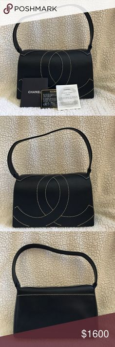 Selling this NWOT Authentic Vintage Chanel Black Leather Bag on Poshmark! My username is: courtneycwells. #shopmycloset #poshmark #fashion #shopping #style #forsale #CHANEL #Handbags