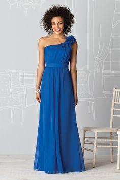 One Shoulder Flower Strap Royal Blue Bridesmaid Dresses With Natural Waist.jpg (1000×1500)