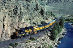D & RGW GP40-2 3105 subs for an unavailable F9B unit on the Westbound Rio Grand Zephyr as it enters Byers Canyon from Hot Sulphur Springs CO. on August 29 1981.