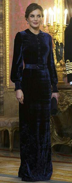 Queen Letizia - Prussian blue velvet Felipe Varela dress. Full sleeves. Full covering outfit. Modest style.