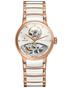 9bc38c15c78 Rado Women s Swiss Automatic Centrix Diamond Accent Rose Gold-Tone Pvd  Stainless Steel and White