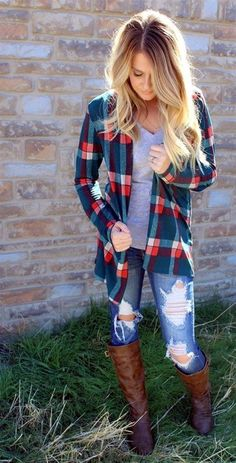 really like the flannel shirt. not the holes in the jeans
