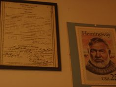 Hemingway's first marriage license. He and first wife Hadley were married, and honeymooned at Horton's Bay, just west of Charlevoix, MI.