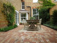 Love the use of brick, also interesting to see several window styles in close proximity Garden Makeover, Brick Patios, Window Styles, Beautiful Space, Little Houses, Victorian Homes, Garden Paths, Home Accessories, Garden Design