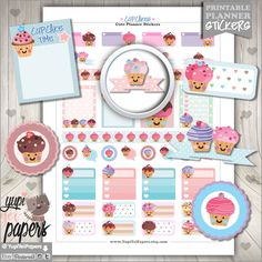 Cupcake Stickers, Planner Stickers, Cupcakes, Cake Stickers, Planner Accessories, Muffin Stickers, Kawaii Stickers, Cakes, Erin Condren