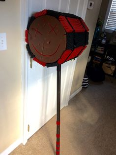 Harley Quinn cosplay mallet. Home made. Second attempt. Styrofoam, exo-tubing, PVC and a LOT of paint, stain and hot glue. -KS