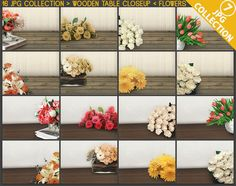 Flowers #C07 Empty Closeup Studio Backgrounds & Flowers Collection 16 JPG Styled Scenes, Table with Flowers, Product closeup display scene