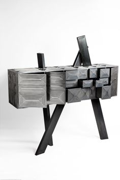 SCULPTURAL CABINET BY BOULLOUD ERWAN | Contemporary cabinet made from stainless black steel. | http://bocadolobo.com/blog/ #limitededition