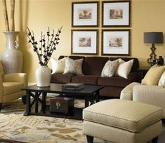 New living room paint color ideas with brown furniture yellow 44 Ideas Living Room Decor Yellow Walls, Living Room Yellow And Brown, Beige Living Rooms, Living Room Colors, Living Room Designs, Living Room Decor Brown Couch, Living Furniture, Brown Furniture, Rustic Furniture
