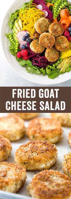 Fried Goat Cheese Salad - Fresh spring vegetable salad recipe with arugula, beets, carrots, peas, avocado and raspberry poppyseed dressing. via @foodiegavin