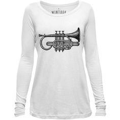 Mintage Antique Trumpet Womens Long-Sleeve Scoop Top