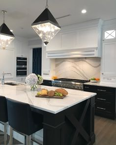 Cant get enough of this black & white kitchen by - Architecture and Home Decor - Bedroom - Bathroom - Kitchen And Living Room Interior Design Decorating Ideas - Refacing Kitchen Cabinets, Kitchen Cabinet Colors, Kitchen Colors, Cabinet Refacing, Home Depot Kitchen, Kitchen Interior, Kitchen Decor, Chef Kitchen, Room Interior