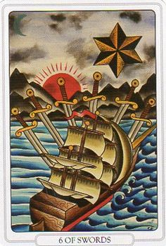 My #TarotJoy 6Swords- I know my true north & when I forget I am blessed having one who helps me remember. Love hasn't bound me; it's freeing.    This is the Six of Swords From Tarot of the Tattoo Age.    https://www.facebook.com/TarotoftheTattooAge    https://twitter.com/78Whispers    http://78whispers.blogspot.com/