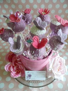 Purple Cake Pops with Lavender & Pink Butterflies