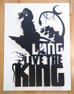 King Scar - Lion King hand cut paper craft silhouette