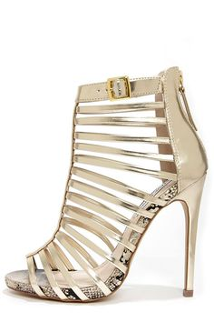 Steve Madden Marnee Gold Caged High Heel Booties