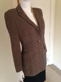 Vintage 80's Escada Wool Check Plaid Blazer Jacket, Pure Virgin Wool-Made in Germany by DivineGirlDelightful on Etsy