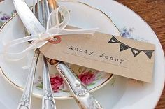 Wedding reception vintage style place names