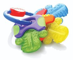 The IcyBite Keys by Nuby is another innovation in the natural teething process as well as a toy which combines exercise for young hands, gums and teeth. This Nuby teether also features areas filled with pûrICE. The cool resilient surface soothes and stimulates sore gums safely and stays colder, ...