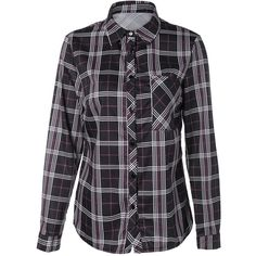 Tartan Long Sleeve Shirt With Front Pocket (105 SEK) ❤ liked on Polyvore featuring tops, long sleeve shirts, shirt top, tartan plaid shirt, plaid top and front pocket shirts
