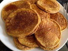 plate of pumpkin pancakes THM Trim Healthy Tuesday