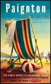 Paignton, England - British Railways Beach Chair and Ball - Vintage Travel Poster (Art Prints, Wood British Travel, British Seaside, British Railways, British Isles, South Devon, Devon Devon, Railway Posters, Family Resorts, Train Journey