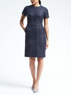 Banana Republic  Short-Sleeve Frayed-Edge Tweed Dress $138.00