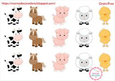 Mamá Decoradora: Kit Imprimible La Granja Gratis Party Animals, Farm Animal Party, Farm Animal Birthday, Farm Birthday, Farm Party, Boy First Birthday, Diy Birthday, Baby Showers, Printable Animals