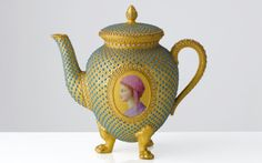 Royal Worcester Teapot. The original set was given to Georgina Countess of Dudley on her marriage to the 1st. Earl of Dudley. The firm was asked by the Earl to make a copy of the set, now on display in the Worcester Porcelain Museum.