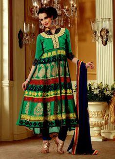 Marvelous Jade Green Embroidered Salwar Kameez