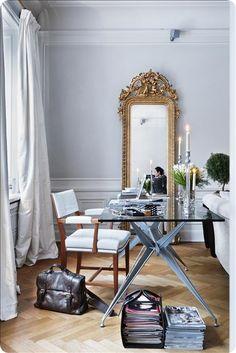 modern metal & glass desk + ornate gold mirror + drapery   via Fresh Work Spaces ~ Cityhaüs Design