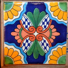 6 tiles by MexicanTiles on Etsy Stencil Painting, Ceramic Painting, Ceramic Art, Clay Tiles, Mosaic Tiles, Moroccan Art, Moroccan Tiles, Mexican Colors, Boarders And Frames