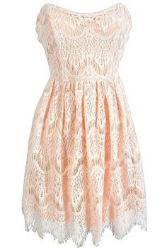 Lace Strapless Sweetheart Dress in Light Peach     www.lilyboutique.com