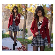 Vibrant Red Corduroy Blazer found on Polyvore featuring outfits, pics, people and icons