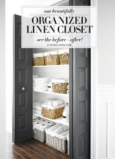 Functional and beautiful organized linen closet with baskets to keep everything neat and tidy. Linen Closet Organization, Small Space Organization, Kitchen Cabinet Organization, Diy Organization, Organizing Tips, Cleaning Closet, Laundry Closet, Cleaning Hacks, How To Organize Your Closet
