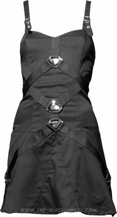 Black gothic dress by Aderlass, futuristic cut detailed with metal buckles and straps.