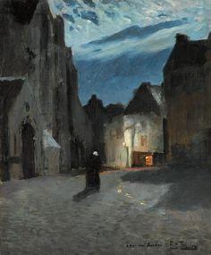 Frits Thaulow (Norwegian, 1847-1906), Landsby i måneskinn [Town by moonlight], c.1897. Oil on canvas, 46 x 38cm.
