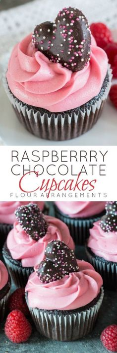 Fresh raspberries Framboise and plenty of dark chocolate come together in these decadent Raspberry Chocolate Cupcakes. A perfect recipe for Valentines Day!