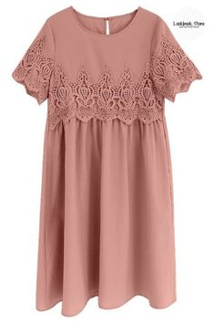 Fashion Steal // Be sweet as candy and classy at the same time when you wear this super pretty deep blush hollow out lace keyhole-back shift dress. Spring Dresses, Day Dresses, Cute Dresses, Short Sleeve Dresses, Spring Clothes, Fashion Wear, Teen Fashion, Spring Fashion, Womens Fashion