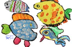 Hooray for Fish! tempera paint project from Deep Space Sparkle, based on Lucy Cousins' book