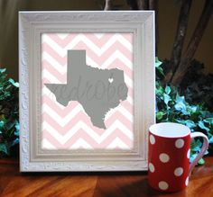 Custom State & Location Chevron 8x10 Graphic by redrobedesigns, $18.00